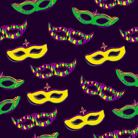green face: Vector seamless pattern with colorful Mardi Gras face masks on dark violet background for your design. Cute background in green, pink and yellow colors. Hand drawn doodle elements.