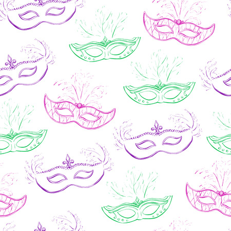 green face: Vector seamless pattern with colorful Mardi Gras face masks for your design. Cute elements in green, pink and violet colors. Simple doodle objects on white background.