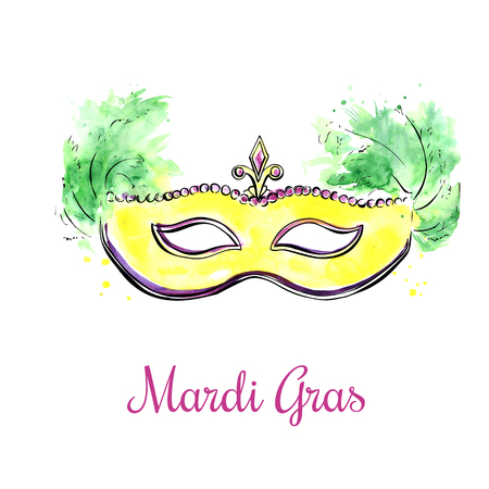 decoration decorative disguise: Vector illustration of bright yellow Mardi Gras mask with feathers and jewels. Black outline and watercolor texture with artistic splashes and drips. Hand drawn object isolated on white background. Illustration