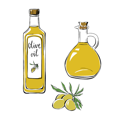 Set of vector illustrations Olive oil. Hand drawn olives with leaves, glass bottle and pitcher. Doodle objects isolated on white background. Black outline and colorful stains.