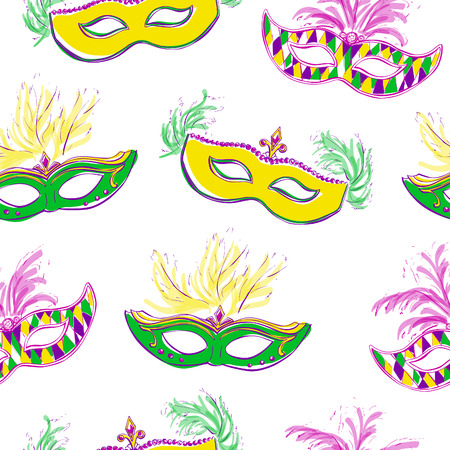 decoration decorative disguise: Vector seamless pattern with colorful Mardi Gras masks with jewels and feathers. Bright yellow, violet, pink and green doodle objects on white background for your design.