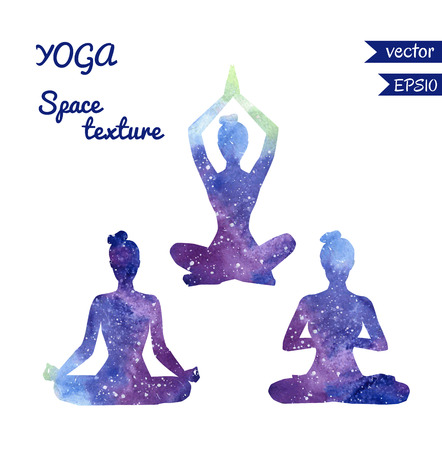 wellness background: Set of vector shapes of yoga women with bright watercolor space texture. Collection of three girl silhouettes meditating in lotus position - Padmasana.