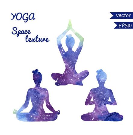 Zestaw kształtów wektorowych jogi kobiet z jasnym przestrzeni akwarela tekstury. Kolekcja trzech dziewczyn sylwetki medytując w pozycji lotosu - Padmasana.