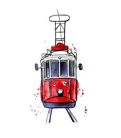 Ilustración del vector del transporte público tradicional de turco. Dibujado a mano famoso tranvía Estambul. contorno negro y textura de colores con las salpicaduras, cortinas y goteos. Aislado en el fondo blanco.