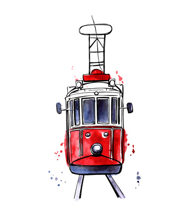 Vector illustration of traditional turkish public transport. Hand drawn famous Istanbul tram. Black outline and colorful texture with splashes, curtains and drips. Isolated on white background.