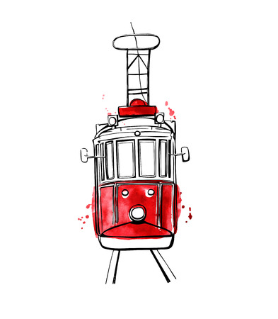 Vector illustration of traditional turkish public transport. Hand drawn famous Istanbul tram. Black outline and red watercolor texture with splashes, curtains and drips. Isolated on white background.