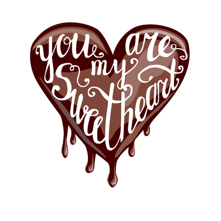 sweet heart: Vector illustration with lettering. Heart shaped sweet with melting chocolate and hand written phrase You are my sweetheart. Cute image with inscription for Valentines day design.
