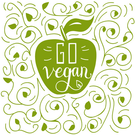 eco slogan: Vector illustration with lettering Go vegan in apple silhouette with plant decoration. Illustration