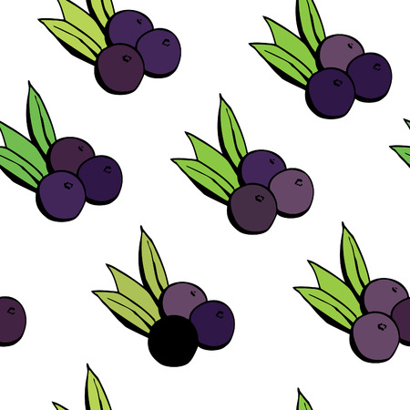 berries: Simple vector seamless pattern with doodle acai berries on white background.