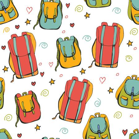 mochila de viaje: Modelo inconsútil del vector mochilas brillantes. bolsas azules, rojas, amarillas y verdes sobre fondo blanco con las estrellas del doodle, corazones y remolinos.