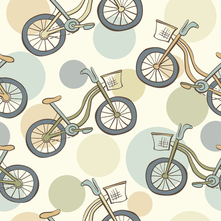 beige background: Cute vector seamless pattern with doodle bikes and circles in beige vintage colors on light background.