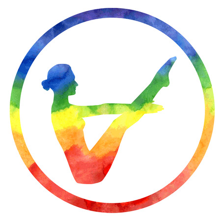 balance rainbow colors: Vector silhouette of yoga woman in circle frame with bright watercolor colorful texture.