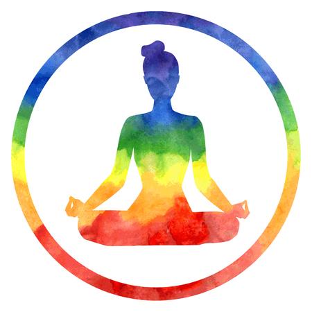 Vector silueta de la yoga de la mujer en el marco del círculo brillante con textura de acuarela de colores. Actitud del loto - Padmasana. Ilustración de vector