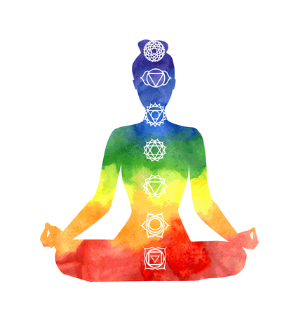 being: Vector silhouette of yoga woman with chakra symbols. Bright watercolor texture and white background. Padmasana - Lotus pose.