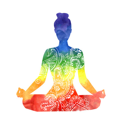 Vector silhouette of yoga woman with white decorative pattern. Bright colorful watercolor texture in rainbow dyes. Isolated figure on white background. Padmasana - Lotus pose.