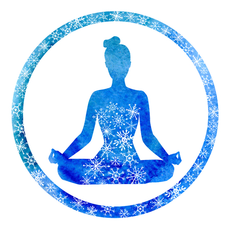 Vector yoga illustration with a silhouette of woman in circle frame. Bright blue watercolor texture and snowy ornament. Winter colors and decorative snowflakes. Lotus pose - Padmasana.