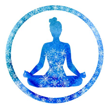 Vector yoga illustration avec une silhouette de la femme dans le cadre du cercle. Lumineux texture d'aquarelle bleue et l'ornement de neige. couleurs d'hiver et des flocons de neige décoratifs. Lotus pose - Padmasana. Banque d'images - 51445102