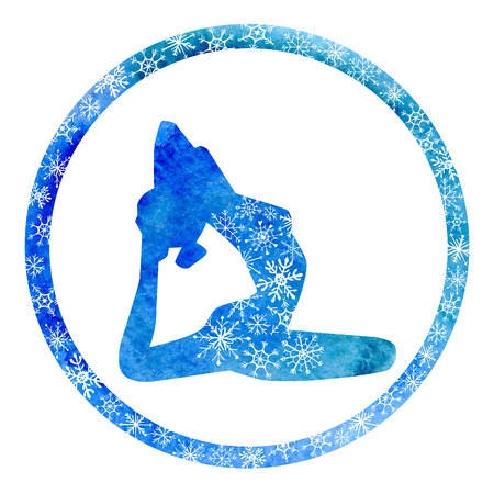 winter colors: Vector silhouette of yoga woman in circle frame with bright blue watercolor texture and snowy ornament. Winter colors and snowflakes decoration.