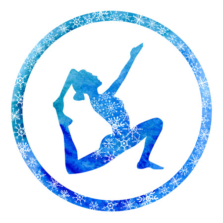 winter colors: Vector yoga illustration with female silhouette in circle frame with bright blue watercolor texture and snowy ornament. Winter colors and snowflakes decoration. Illustration
