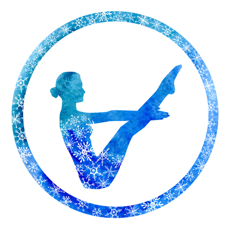 IMAGE: Vector yoga illustration with female silhouette in circle frame with snowy ornament. Winter bright blue colors, watercolor texture and decorative snowflakes. Boat pose - Navasana.