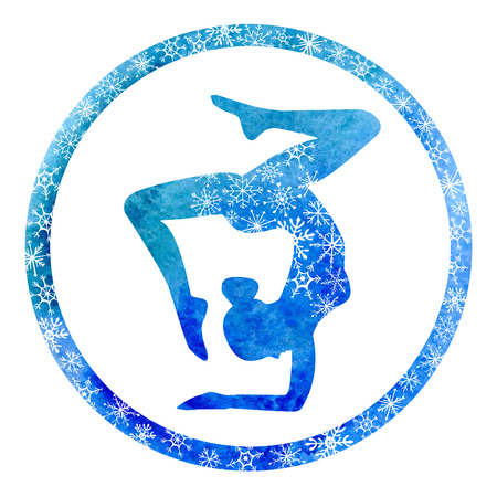 Vector yoga illustration with slim female silhouette in circle frame with winter decoration. Bright blue watercolor texture with white snowflakes. Isolated on white background. Vettoriali