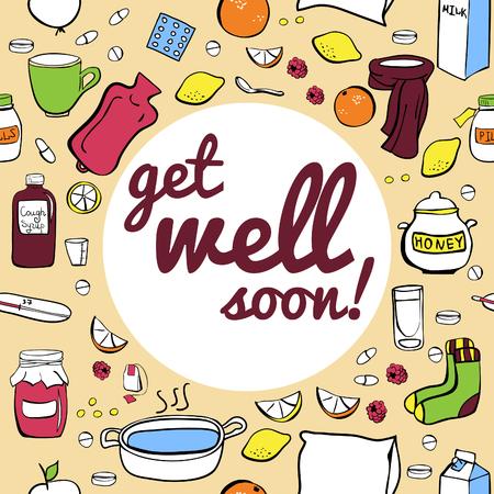 tos: ilustración vectorial frío y el remedio contra la gripe. Diseño sin costuras tarjeta con la inscripción Get bien pronto.
