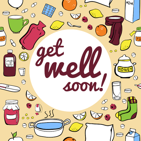 get well: Vector illustration Cold and flu remedy. Seamless card design with Get well soon inscription.