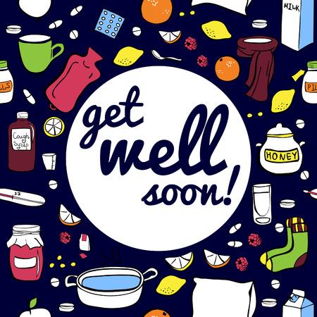 limon caricatura: ilustración vectorial frío y el remedio contra la gripe en el fondo de color azul oscuro. Diseño sin costuras tarjeta con la inscripción Get bien pronto. Vectores