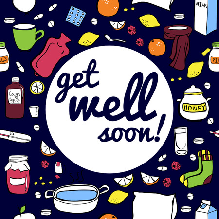 cough syrup: Vector illustration Cold and flu remedy on dark blue background. Seamless card design with Get well soon inscription.