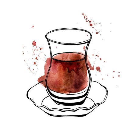 Vector hand drawn illustration of traditional turkish tea in an authentic turkish glass named bardak. Black outlines and colorful stains and drips. Isolated object on white background.