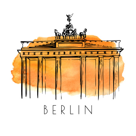 gates: Vector card with a sketch of Brandenburg Gate. Hand drawn illustration of famous german landmark. Black outlines and bright orange watercolor stain on background.