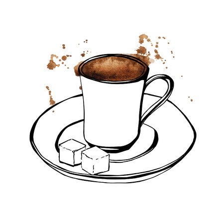 Vector hand drawn illustration of turkish coffee cup. Black outlines and bright watercolor spots and drops. Isolated objects on white background.