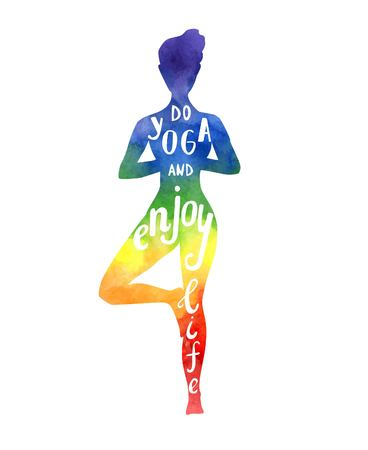 Vector illustration with a silhouette of yoga woman with bright watercolor texture in rainbow colors. Hand written phrase Do yoga and enjoy life. Isolated figure on white. Tree pose - Vrksasana.