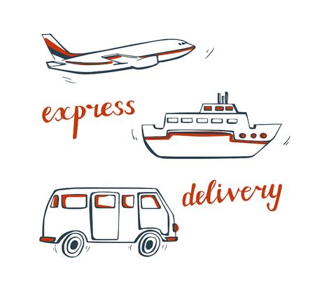 Vector set of doodle delivery transport. Simple hand drawn bus, plane and ship in dark blue and orange colors. Isolated design elements on white background. Illustration