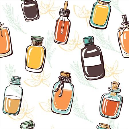 elixir: Modelo inconsútil del vector con las botellas y frascos de bosquejo con el aceite esencial en el fondo blanco con ramas y flores en colores verdes y amarillos delicados. La mano de colores dibujado objetos del doodle. Vectores