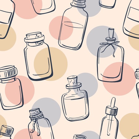 Vector seamless pattern with doodle bottles with essential oil. Hand drawn glass vials and flasks on neutral background. Dark blue outline and delicate pink, blue and beige circles.