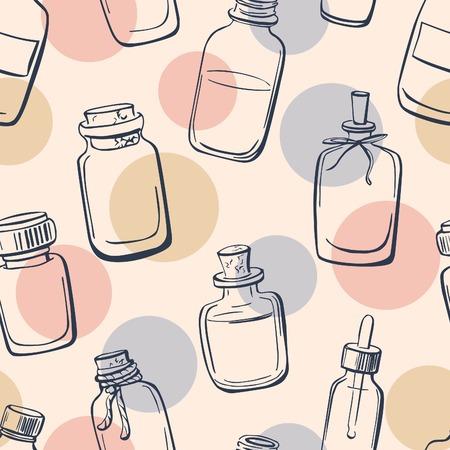 Vector naadloos patroon met doodle flessen met essentiële oliën. Hand getrokken glazen flesjes en flacons op neutrale achtergrond. Donker blauw overzicht en delicate roze, blauw en beige cirkels.