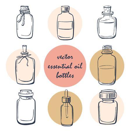 Vector set van doodle flessen met essentiële oliën. Verzameling van eenvoudige hand getekende glazen flesjes en flacons. Geïsoleerde objecten op een witte achtergrond. Donkerblauw overzicht op roze en beige cirkels. Vector Illustratie