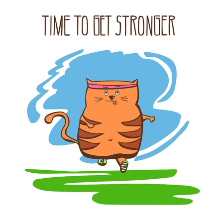 Hand drawn vector fitness illustration Time to get stronger. Cute fat cat running outside. Funny animal doing jogging outdoors. Positive colorful motivational card.