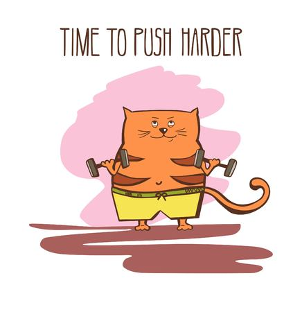 bicep curls: Hand drawn vector fitness illustration Time to push harder. Cute fat cat exercising with dumbbells and weights. Funny animal doing sports in gym. Joyful colorful motivational card.