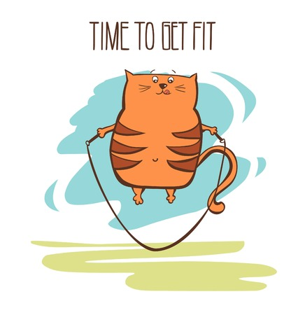 Hand drawn vector fitness illustration Time to get fit. Cute fat cat jumping with skipping rope. Funny animal exercising outdoors. Funny colorful motivational card. Illustration
