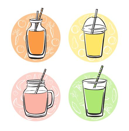 Colorful vector set of doodle cups, jars, glasses and bottles with tasty nonalcoholic beverages. Hand drawn black outline with bright elements on color circles with symbols of fruits and vegetables.