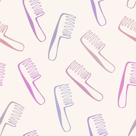 quirky: Simple vector seamless pattern with hand drawn doodle combs in delicate pink, purple and violet colors on light background. Neutral backdrop with colorful quirky objects for your design.