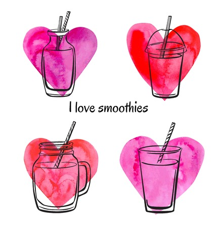 fruit smoothie: Set of vector illustrations of bottles, jars and glasses with smoothies and juices on bright watercolor hearts. Black sketchy outline on pink paper textured symbols. Isolated on white background. Illustration