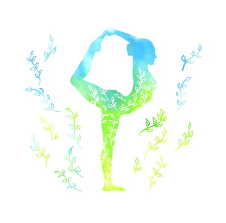 spring balance: Vector illustration with a silhouette of yoga woman with blue and green watercolor texture and floral ornament. Spring colors and leaves decoration. Isolated on white. The dancer pose - Natarajsana.
