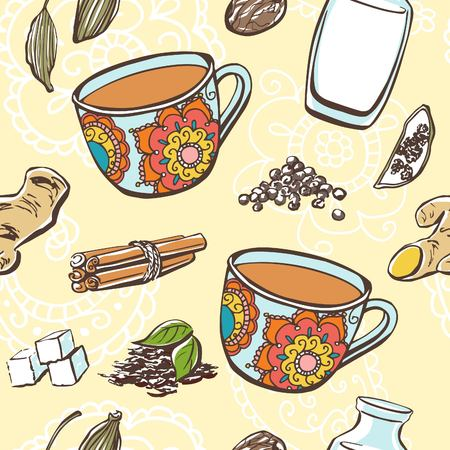 white sugar: Vector seamless pattern with traditional indian hot beverage Masala tea and its ingredients. Cups, milk, sugar and spices. Hand drawn doodle objects on beige background with white paisley ornament.