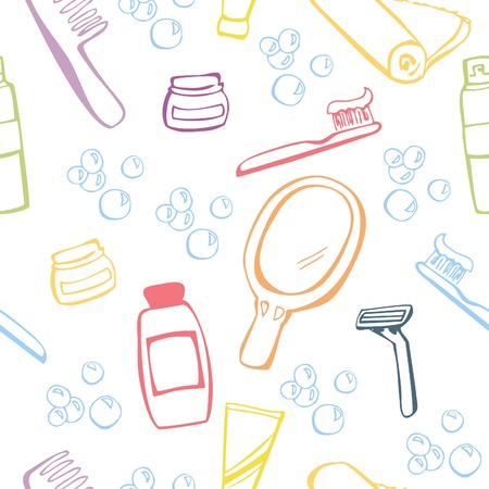 morning routine: Vector seamless pattern with hand drawn objects Morning routine. Colorful doodle objects on white background.
