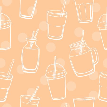 glass jars: Vector seamless pattern with dots and glasses, bottles and jars with smoothie and juice. White doodle elements on neutral beige background for your design. Illustration