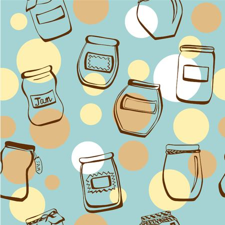 beige background: Cute vector seamless pattern with hand drawn doodle jam jars and beige and white circles on blue background.