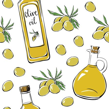 hand outline: Vector seamless pattern with olives, oil bottle and pitcher. Hand drawn doodle objects on white background. Black outline and colorful elements.